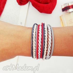 bransoletki ruby forrest, bransoletka, podwójnie, zaplatana, sznurkowa biżuteria