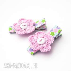 spinki do włosów kwiatuszki, spinkidowłosów, szydełkowe, ozdoby, kwiatki