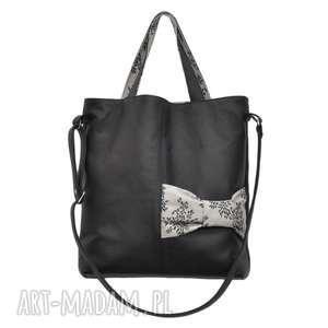22-0011 Czarna ekskluzywna torebka damska z kokardą JAY ONE, skórzane, torby, damskie