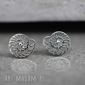 925 mini kolczyki sztyfty amonit, muszelki, morze, srebro, srebrny, 925