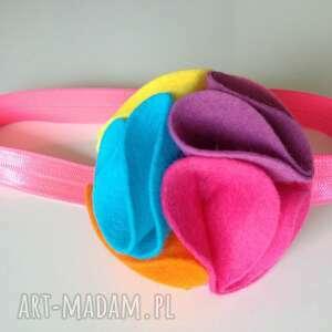 handmade dla dziecka opaska niemowlęca - tęczowy kwiat