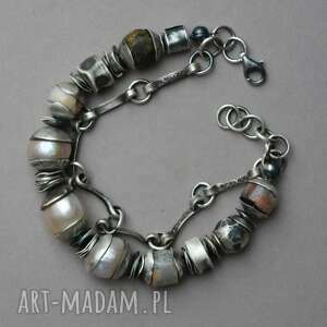 srebrna bransoletka z perłami,agatem koronkowym i surowym bursztynem