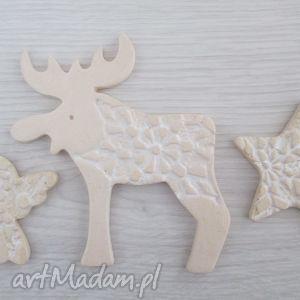 kremowo biały zestaw świątecznych magnesów, świąteczne, magnesy, dekoracje, upominki
