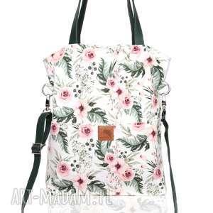 Duża oryginalna, wiosenna torba w piękny kwiatowy wzór z kieszonkami,