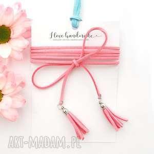 Różowy Choker - Simple, choker, naszyjnik, chwosty, chwościki