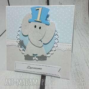 kartka zaproszenie słonik z kapeluszem - słonik, chrzest, narodziny, zaproszenie