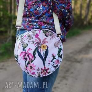 świąteczny prezent, round bag - kwiaty, elegancka, nowoczesna, wiosna