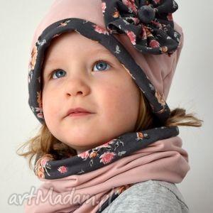 czapka i komin kwiaty, czapka, komin, dziewczynka