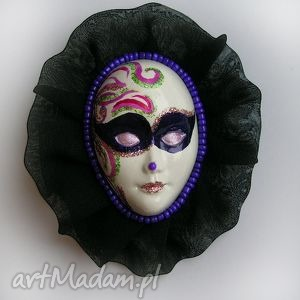 broszka z kolekcji masquerade - tiulowa - broszka, maska, karnawał, halloween, ozdoba