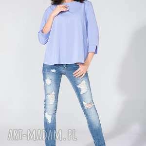 bluzka koszulowa z kopertowym tyłem t136 lawenda - bluzka, koszulowa, szyfon, letnia