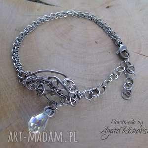 Bransoletka z kryształem Swarovski, wire wrapping, swarovski, bransoletka