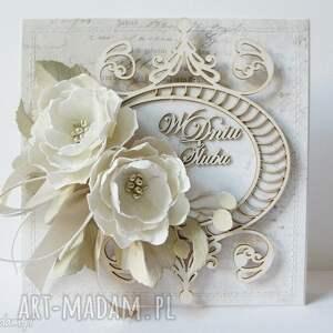 Krem i biel - kartka w pudełku z kieszonką, ślub, gratulacje, życzenia