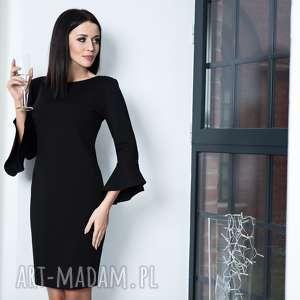 Elegancka sukienka z ozdobną falbanką przy rękawie, model T161, czarny, elegancka