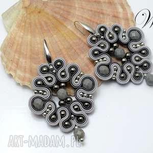 kolczyki sutasz stalowo siwe, kolczyki, sutasz, eleganckie, modne