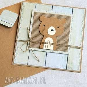 handmade kartki miś maciuś: kartka na roczek, urodziny