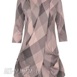 sukienka z dzianiny powder rose, jesień, zima, polska marka, dzianina, kratka, szal