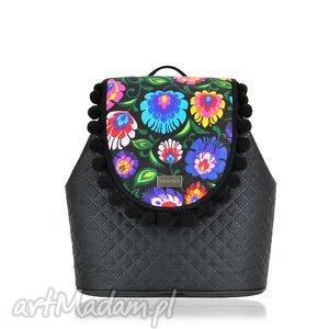 Plecak damski puro 830 farbotka plecak, pikowany, czarny, folk