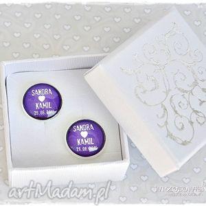 Spinki na ślub twój napis każdy kolor do mankietów wrzosowisko