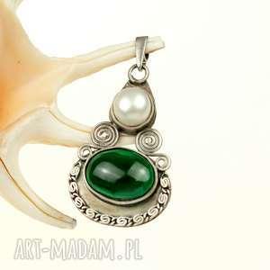 srebrny wisiorek z perłą i malachitem b918, wisiorek