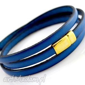 ręczne wykonanie bransoletka skórzana magnetoos triple goldie blue