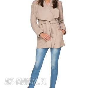 jesienny płaszczyk z flauszu t216, beżowy, płaszczyk, jesienny, flausz, kieszenie