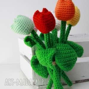 szydełkowe tulipany - kwiaty, które nie więdną, tulipany, dekoracja, prezent