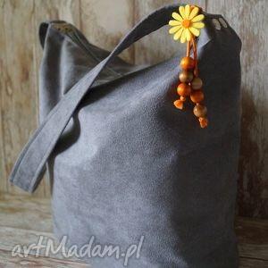 handmade na ramię szara torba z alcantary - sowy
