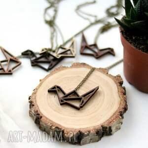 Drewniany naszyjnik - ŻURAW ORIGAMI, naszyjnik, żuraw, origami, drewniany, drewniane