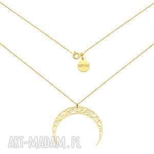 złoty naszyjnik z księżycem - naszyjnik, księżyc, księżycem