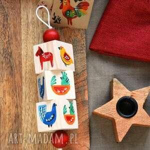 dekoracje dekoracja folk, zawieszka, kurka, konik, ptak, klocki