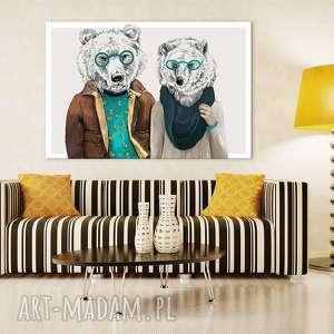 Obraz na płótnie - 120x80cm RODZINA MISI wysyłka w 24h 02227, niedźwiedzie, hipstersi