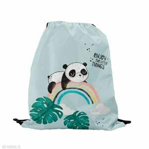 worek z imieniem panda i tęcza, worek, plecak, wodoodporny, imieniem