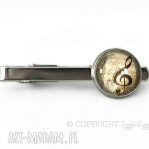 klucz wiolinowy - spinka do krawata egginegg - beżowa męska, zapinka