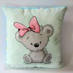 poduszka duża - misiowa panienka - poduszka, miś, dziewczynka, chrzciny, roczek