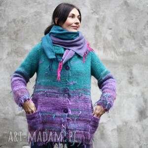 Sweter zielono fioletowy swetry kozaczka unikat, prezent, wełna