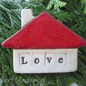 magnesy magnes domek miłości, ceramiczny, dom, miłość, walentynki