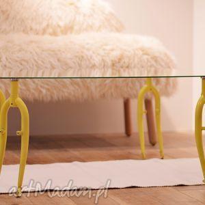 stół szklany forks, kawowy, rowerowy, szklany, salonu, ława, rower