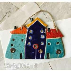 potrójna kamienica, ceramika, kamienica, domki, kwiaty