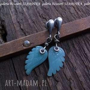 MIĘTOWE ANIOŁY kolczyki z amazonitu i srebra, skrzydła, skrzydełka, amazonit, srebro