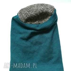 czapka damska męska unisex wełniana ciepła turkus, wełna, męska, czapka, etno, długa,