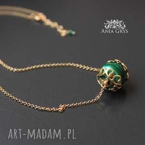 hand made naszyjniki malachit w złocie