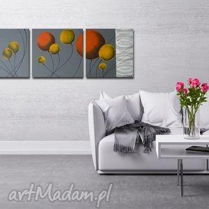 obraz xxl - dmuchawce pomarańczowo żółte -150x50cm, obraz, kwiaty, kulki,
