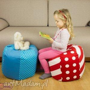 pokoik dziecka puf dziecięcy kropki i paski, puf, siedzisko, poduszka, fotel