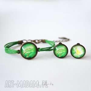 Prezent Komplet - klipsy i bransoletka sznureczki, zielone, antyczny brąz,