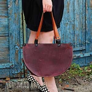 handmade na ramię elegancka skórzana asymetryczna torebka