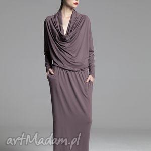 sukienka city cappucino, sukienka, dekolt, woda, maxi, długa, dzianina, świąteczny