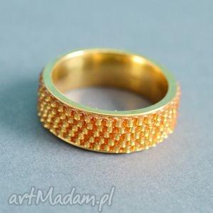 obrączka yes - złota, obrączka, pierścionek, nunn, toho, haft, koralikowy