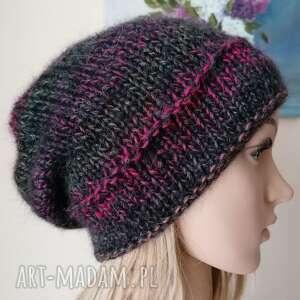 z amarantem ciepła, miękka czapka, rękodzieło, bezszwowa czapka na druta