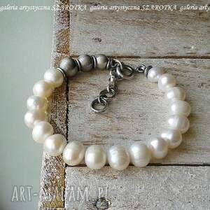 klasyka z pazurem bransoletka naturalnych pereł i srebra, perła naturalna