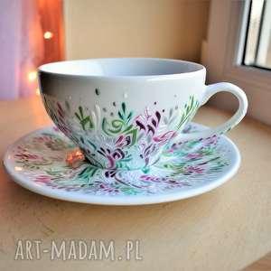 ceramika filiżanka ręcznie malowana elegancka, dla mamy, niej, kobiety